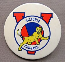 "scarce VICTORIA COUGARS Hockey WHL large 2.25"" pinback button made in Canada"