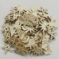 50pcs Under The Sea Wooden MDF Cardmaking Hanging Ornaments Embellishment Craft