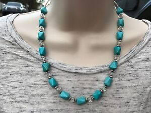 Short Necklace of Turquoise Magnesite Stone and Faceted Clear Czech Glass Beads