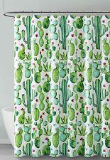 Green Blue Red White Cactus Design PEVA Shower Liner Odorless, ECO Friendly