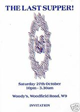 THE LAST SUPPER Rave Flyer Flyers 27/10/92 A6 Rare Woody's Private Party