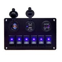 6 Gang Wasserdichte Blau LED Wippschalter Panel Schutzschalter Auto RV Boot 12V