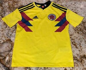 ADIDAS Colombia Home 18/19 YELLOW Navy Blue Soccer Jersey NEW Youth Boys S M L