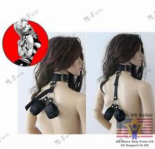 BDSM Nylon Adjustable Collar & Handcuffs Neck To Wrist Restraints for Beginner