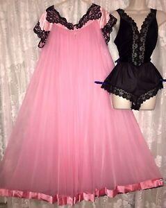 VTG M L VANITY FAIR PINK CHIFFON Peignoir Robe Black Lace Babydoll TEDDY Nightie