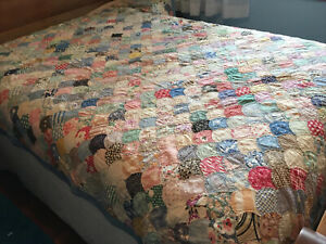 Vintage 1920s-1930s Handmade Hand Quilted Patchwork Quilt, Cutter/Repair Faded