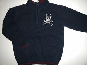 NWT Gymboree XS 3-4 Skull/Crossbones Boy's Blue 1/4 Zip Sweater
