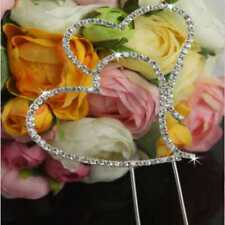 "Large Double Heart Rhinestone Wedding Cake Topper 3-1/2"" X 3-1/2"" USA Seller"