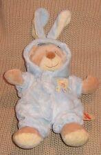 Grand Doudou peluche ours déguisé en lapin bleu NICOTOY 25 cm