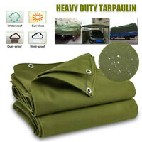 2mx2m Army Heavy Duty Canvas Tarp Tarpaulin Sun Blocked Waterproof Cover  ; ε