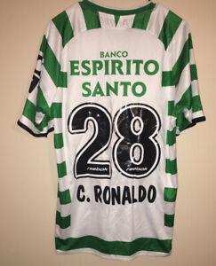 Reebok 2001/02 Sporting Lisbon Portugal Jersey Cristiano Ronaldo #28 Large RARE