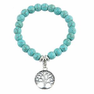 * TREE OF LIFE * SILVER PENDANT ON TURQUOISE BEAD ELASTIC BRACELET - NEW