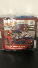 NEW! Marvel Spider-Man Twin Sheet Set Super Soft (Flat, Fitted, Pillowcase)