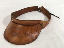 Vintage Visor - Hand Tooled Brown Leather - Glans #A6