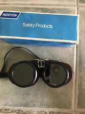 Vintage Norton Safety Goggles Tinted Glass Lens Side Panels Usa