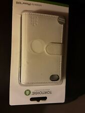 Tortoise Genuine White Leather Notebook Phone Case Cover Apple i Phone 4/ 4s