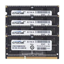 For Crucial 32GB 4X8GB 2Rx8 PC3L-12800S DDR3L-1600Mhz SODIMM Memory RAM Non-ECC