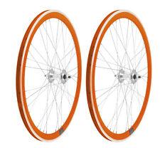 Coppia Ruote Bici Fixed Arancioni Profilo 40mm scatto fisso pista