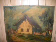 VINTAGE  IMPRESSIONIST HOUSE IN LANDSCAPE OIL PAINTING  SIGNED ILLEGIBLY