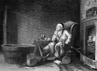 CRAZY DRUNK OLD FISHERMAN FISHES IN A TUB in House ~  1850 Art Print Engraving