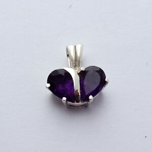 Amethyst Pendant IN 925 Silver Gems Jewelry Purple Faceted Heart Ladies