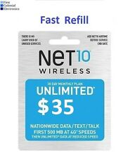 Net10 $35/Month Refill -- Unlimited Talk/Text/Data. Fast & Right