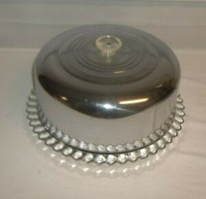 Vintage 1950's  Chrome Cake Cover Dome & Matching Glass Plate Estate Sale!