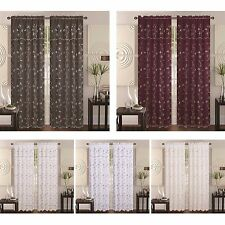 Alma Layer Embroidery Floral Flower Vine Decor Sheer Rod Pocket Curtain Valance