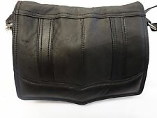 Soft Leather Flapover Shoulder Bag Cross Body Black with Features