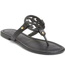 New Tory Burch Miller Flip Flop Black Leather US Womens Size 10M
