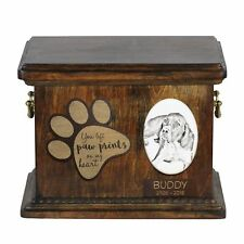 English Pointer - Urn for dog's ashes with ceramic plate and description Usa