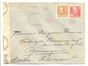 SWEDEN 1940-11-7 -PS COVER --CENSOR TO HOLLAND-- F/VF