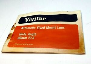 Vivitar Fixed 28mm f2.5 Wide Angle Lens Owner's Manual guide English 1972