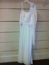 White Purple Chiffon One Shoulder Wedding Formal Gown - Size 14