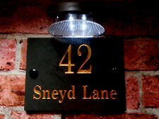 """Deeply engraved slate plaque with the number of the house door - 6"""" x 8"""" + solar"""