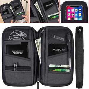 Travel Wallet Passport Holder Organizer Document RFID Pouch Bag Cards Card Money