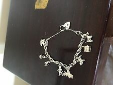 LOVELY SILVER CHARM BRACELET WITH SILVER CHARMS, House, Dog, Padlock Etc 34Grams