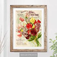 VINTAGE FLOWERS Art Print Poster Horticulture Bouquet Classic Floral Nature