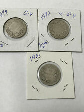 3 X CANADA 25 CENT QUARTERS QUEEN VICTORIA STERLING SILVER COIN 1872H 1899 1901