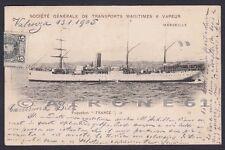 PAQUEBOT FRANCE 01b NAVE MARINA NAVIGAZIONE SHIP Cartolina viaggiata 1905