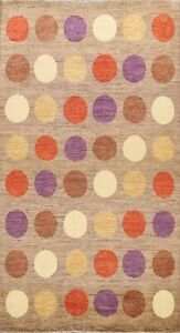 Polka Dot Modern Gabbeh Circles Design Oriental Area Rug Wool Hand-knotted 6'x8'