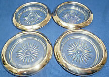 4 ORNATE SILVER RIMMED DRINK COASTERS with GLASS INNERS 10 cm diameter