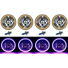 "5-3/4"" Purple COB SMD LED Halo Angel Eye Halogen Light Bulb Metal Headlights Set"