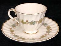Royal Doulton*PIEDMONT*BLUE LEAVES W/GOLD* DEMITASSE*DEMI CUP & SAUCER* H4967*