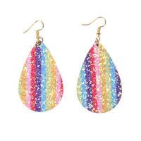 Rainbow Glitter Teardrop Shaped Leather Earrings