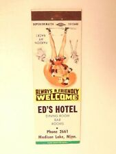 match book cover w/ pin-up style girl :ad for Ed's Hotel, Madison Lake, Minn.