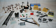 LOT OF VINTAGE HO TRAIN ACCESSORIES RAILROAD CROSSING SIGNS TELEPHONE POLES