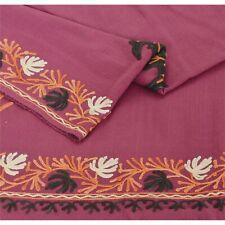 Sanskriti   Pink Woolen Shawl Hand Embroidered Ari Work Stole Warm Scarf