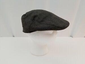 Vintage Wool Tweed Cabbie Hat Newsboy Cap Brown Gray