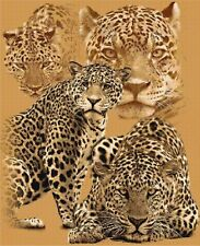 """The Leopard Collection Feature Cross Stitch Kit 13"""" x 16"""" Big Cats Free P&P"""